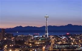 Preview wallpaper Seattle, night, houses, lights, tower, Space Needle