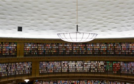 Preview wallpaper Stadsbiblioteket, Stockholm, library, many books, chandelier