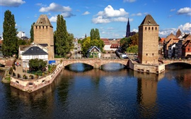 Preview wallpaper Strasbourg, France, bridge, houses, river