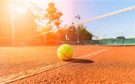 Dia ensolarado, verão, tênis, estádio, terra
