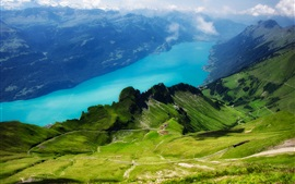 Preview wallpaper Switzerland, Alps, Rothorn, Lake Brienz, railroad, greens, grass, clouds