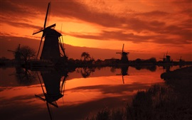 The Netherlands, windmills, river, red sky, evening