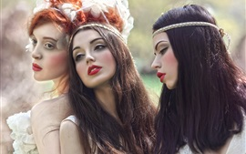 Three long hair girls, makeup, creative