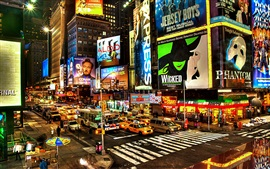 Times Square at night, New York, USA, shops, street, lights