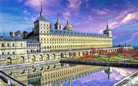 Travel to Spain, palace, park, building, pond, clouds