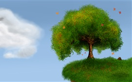 Preview wallpaper Tree, grass, butterflies, clouds, art design