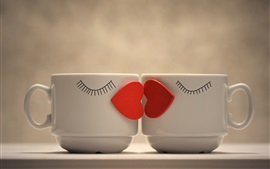Two cups, love hearts