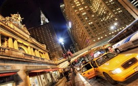 Preview wallpaper USA cities, night, skyscrapers, taxi, lights