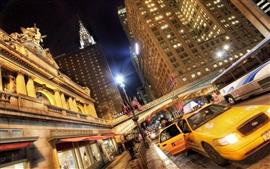 USA ciudades, noche, rascacielos, taxis, luces