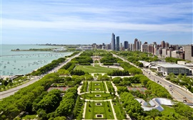 Preview wallpaper USA, city, buildings, parks, coast, yacht