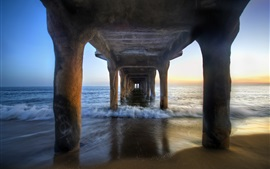 Under the pier bridge, beach, sea, coast