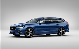 Volvo S90 azul carro vista lateral