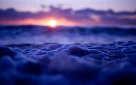 Waves and bubbles, sunset, blue style