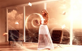 Белое платье магия девушка, окно, креативный дизайн