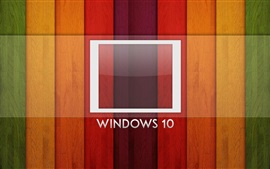 sistema Windows 10, logotipo, fundo do arco-íris, placa de madeira
