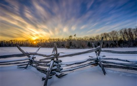 Winter morning, snow, fence, trees, sunrise