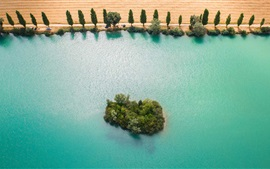 Preview wallpaper Yonne River, France, blue water, island, trees, fields