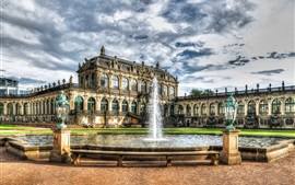 Preview wallpaper Zwinger Palace, Dresden, Germany, houses, fountain, clouds