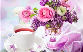 A cup of tea, lilac and rose, bouquet, vase