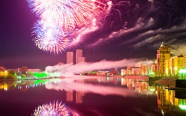 Astana, city night, Kazakhstan, fireworks, river, buildings