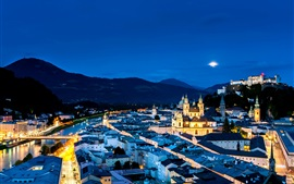 Preview wallpaper Austria, Salzburg, city night, street, houses, lights, mountains