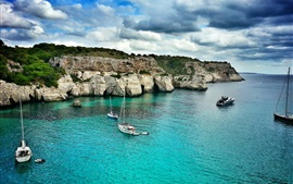 Baleares, Majorque, sea, boats, clouds