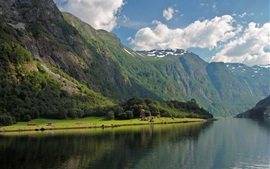 Preview wallpaper Bay Fjord, Norway, forest, river, mountains, clouds