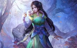 menina da fantasia chinesa bonita, estilo retro