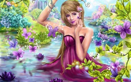 Preview wallpaper Beautiful purple dress fantasy girl in water, butterfly, flowers