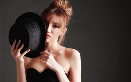 Preview wallpaper Black dress Asian girl, hat, hands