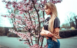 Preview wallpaper Blonde girl and cherry flowers