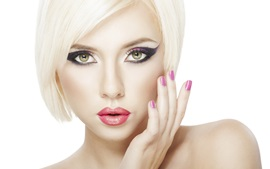 Preview wallpaper Blonde girl makeup, short hair, lip