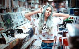 Preview wallpaper Blue hair girl, headphones, music