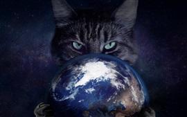Gato coger la Tierra, imágenes creativas