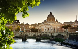 Cathedral, river, bridge, Vatican, Rome, Italy