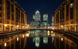 City night, skyscrapers, London, England, Docklands, river, houses