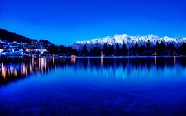 Preview wallpaper City view, lights, lake, water reflection, mountains, twilight