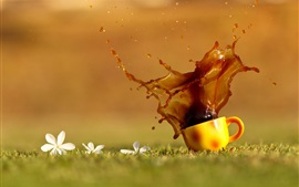 Preview wallpaper Coffee splash, cup, grass, water drops