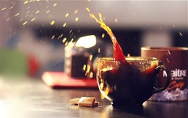 Preview wallpaper Delicious drinks, mug, coffee, water droplets