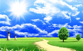 Preview wallpaper Dream world, grass, trees, clouds, blue sky, road, windmills