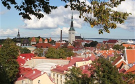 Preview wallpaper Estonia, Tallinn, city, houses, river