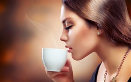 Preview wallpaper Fashion girl drink coffee