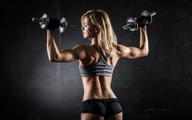 Preview wallpaper Fitness girl, pose, muscle
