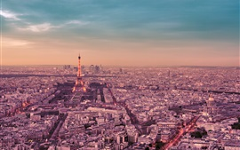 Preview wallpaper France, Paris, city night, Eiffel Tower, street, lights