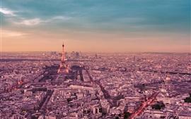 Франция, Париж, город ночью, Эйфелева башня, улица, фонари