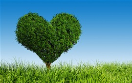 Preview wallpaper Green love heart tree, grass