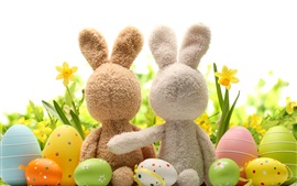 Preview wallpaper Happy Easter, eggs, decoration, rabbit, flowers