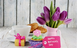 Preview wallpaper Happy Mother's Day, croissant, cake, tulip flowers
