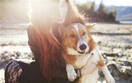 Preview wallpaper Happy girl and dog