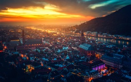 Heidelberg castle, Germany, beautiful city night, houses, river, lights, sunset